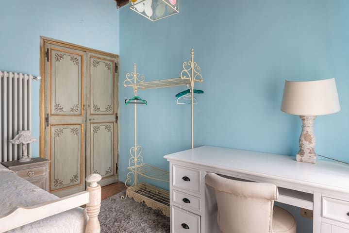 """""""The Blue Bedroom"""" - Third bedroom with queen size bed and a desk"""