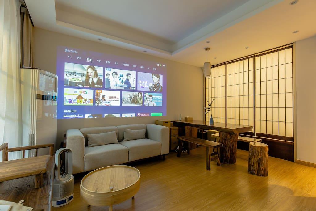 杭州大隐于寺民宿,客厅。