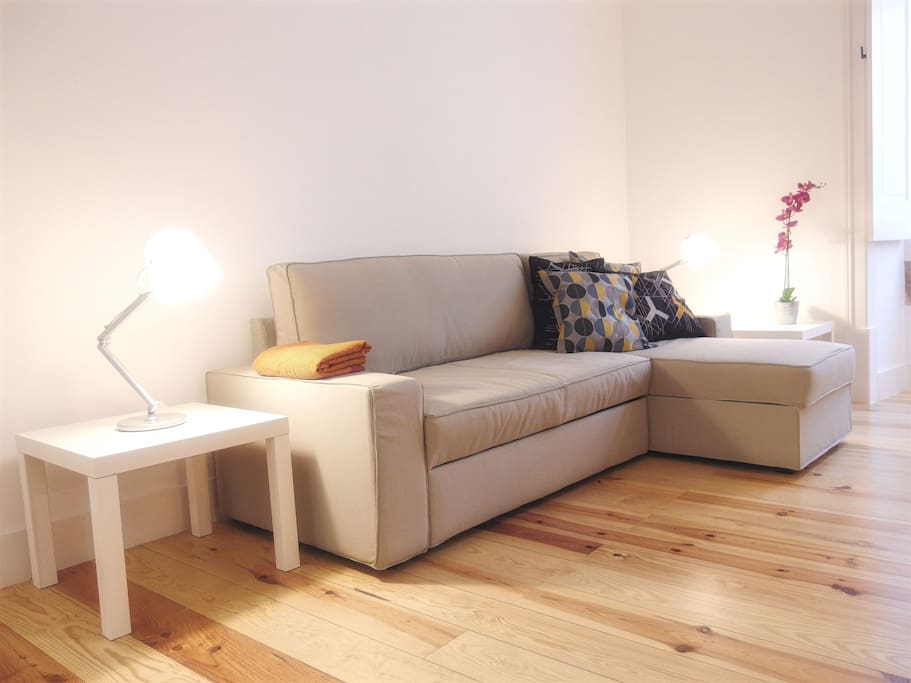 Living area with a large sofa