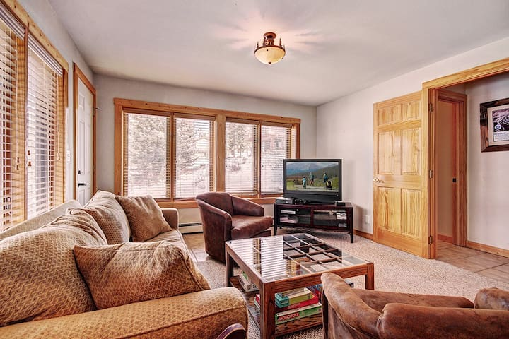 Lower level family room with flat screen TV, sleeper sofa and wet bar.