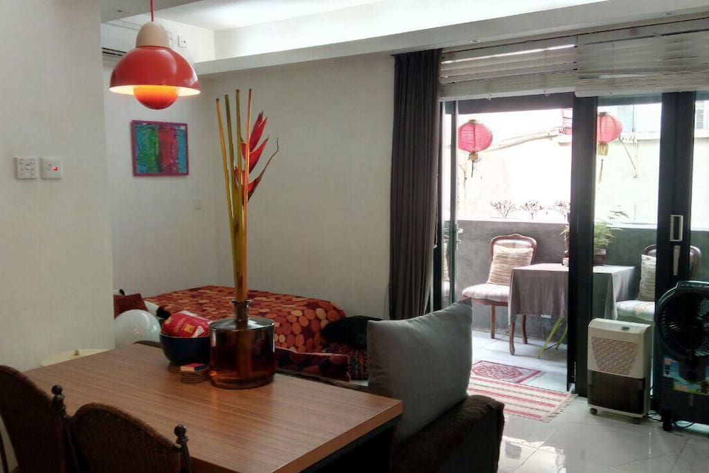 Dinning Table, sofa bed , Terrace access from Living room area