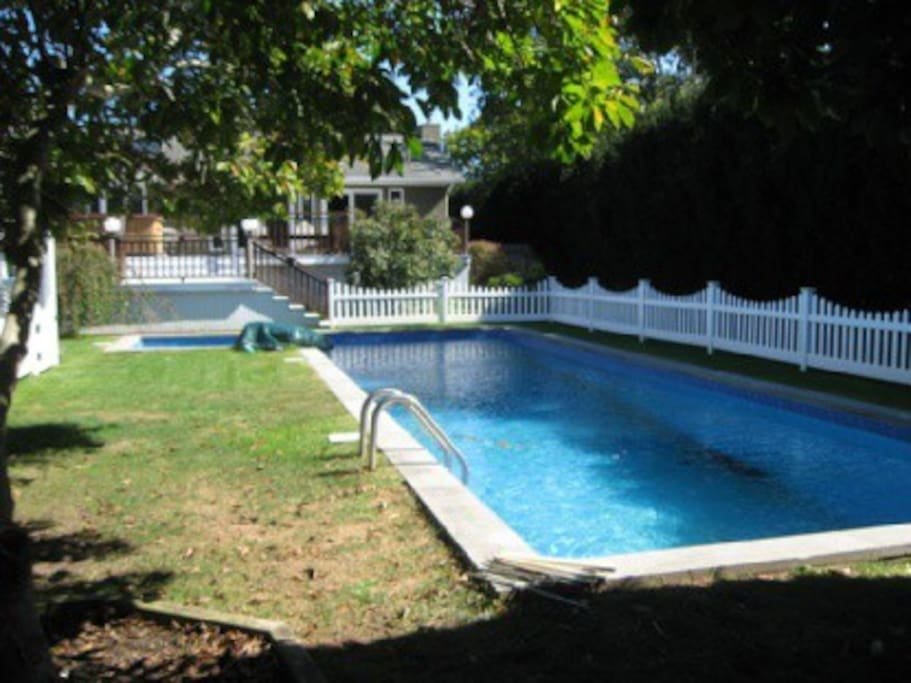 50 foot heated pool with secondary child fence