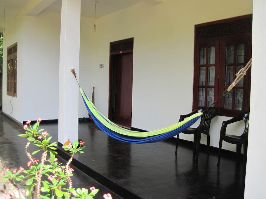 Ground floor veranda and hammock