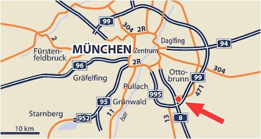 Adlerhorst mit Bergblick, im Süden - Taufkirchen - Apartament