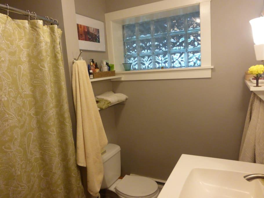 Basic bath with tub. Good shower.