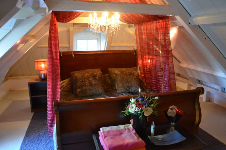 in de rode kamer treft u een klassiek houten bed, voorzien van een rode hemel met kroonluchter; even een nacht prins en prinsesje
