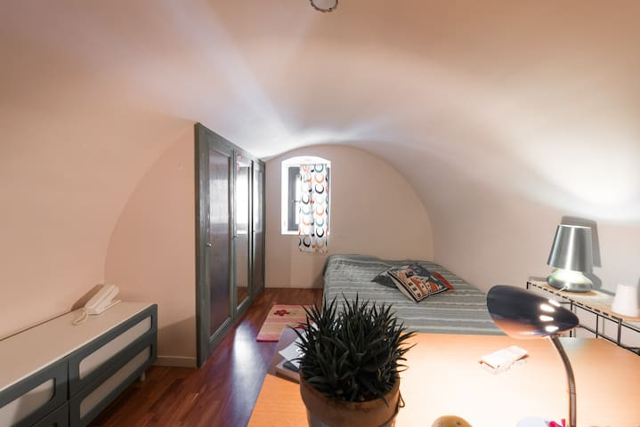 Single Room with Bathroom in Ancient Apartment.