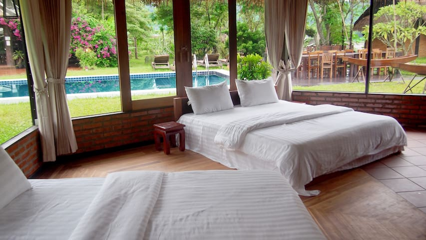 Traditional Lao Bungalow - Pool View