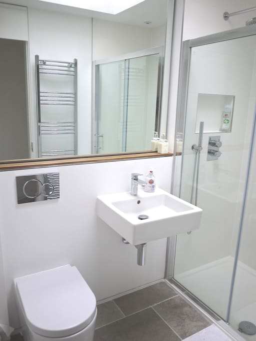 New private ensuite shower room with raindrop shower