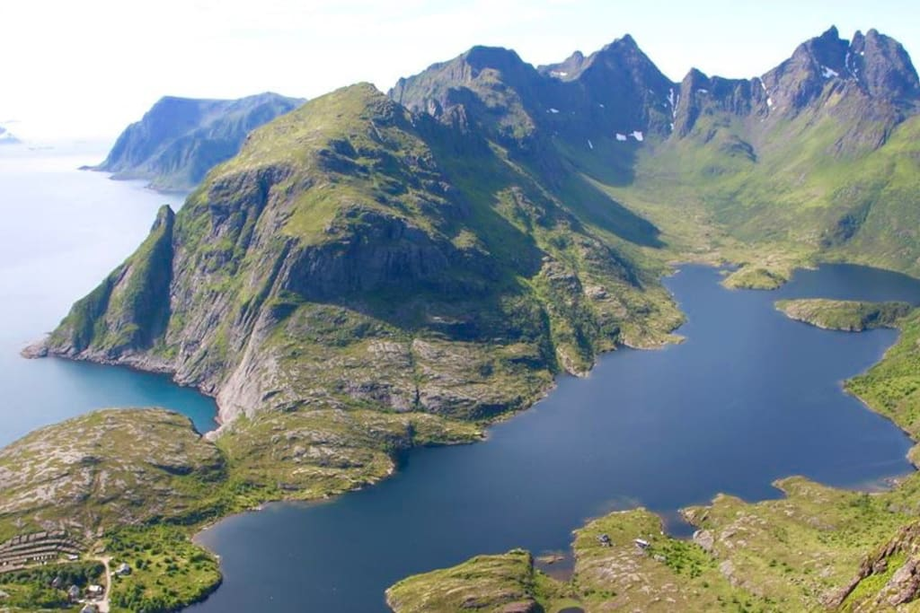 The lake named Åvannet, view from the mountain Tindstind, easy o reach by foot. Have a hike for great view!