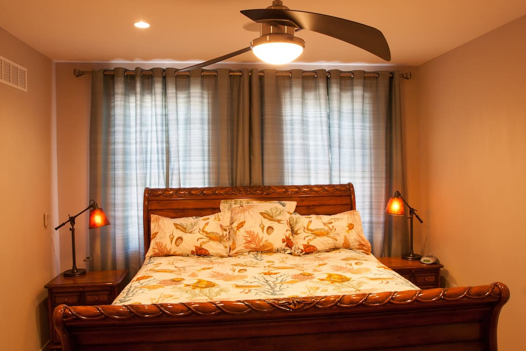 Main bedroom with really large king bed