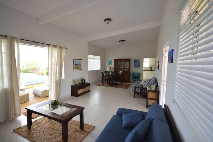 The living room - breezy with lots of sea views