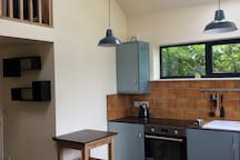 View of the bright kitchen area