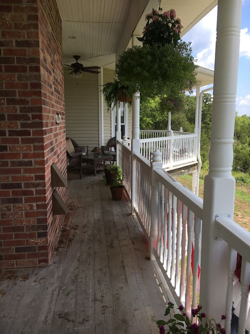 Covered porch with sitting areas