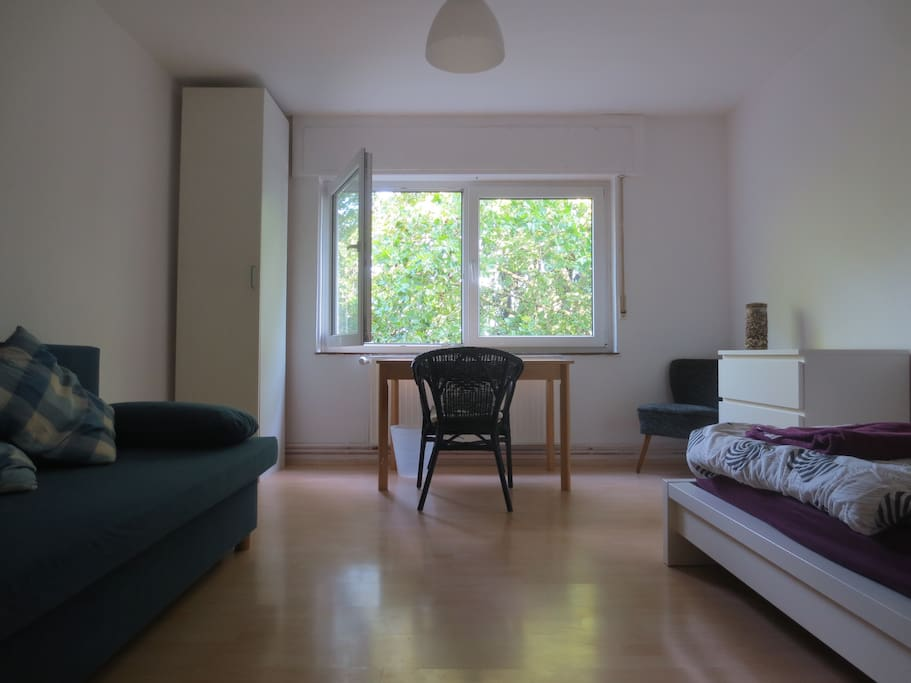 Your private sleeping room with bed and bed sofa