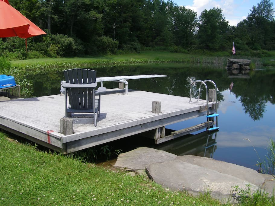 Blue paddle boat, mermaid rock island and diving board