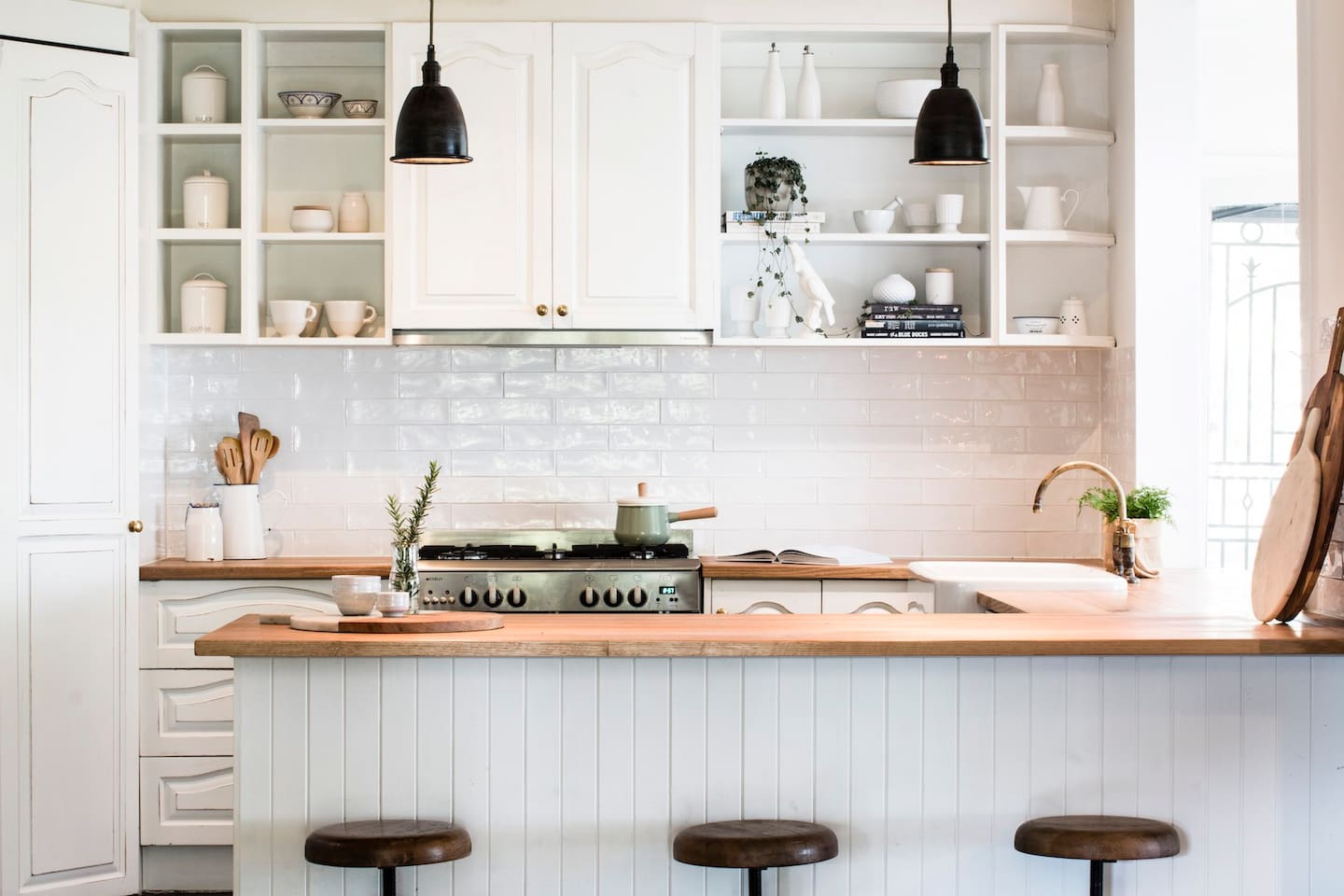 Rustic kitchen overlooking the beautiful elm tree