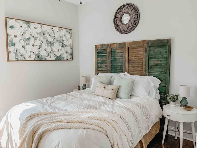 Guest bedroom with custom rustic details.