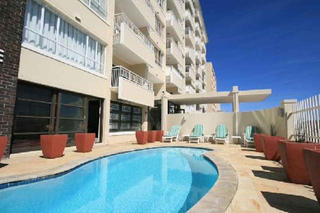 The second floor balcony from the pool is the apartment