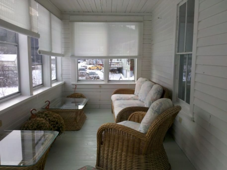 Enclosed 3-season porch with bright and sunny even in the winter!