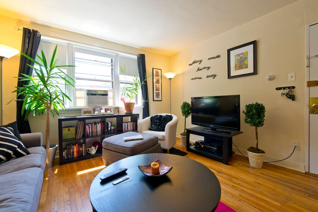 Shared living room, fit with tv, wi-fi throughout apt, ample reading material, record player, karaoke machine, poker set, and other games.