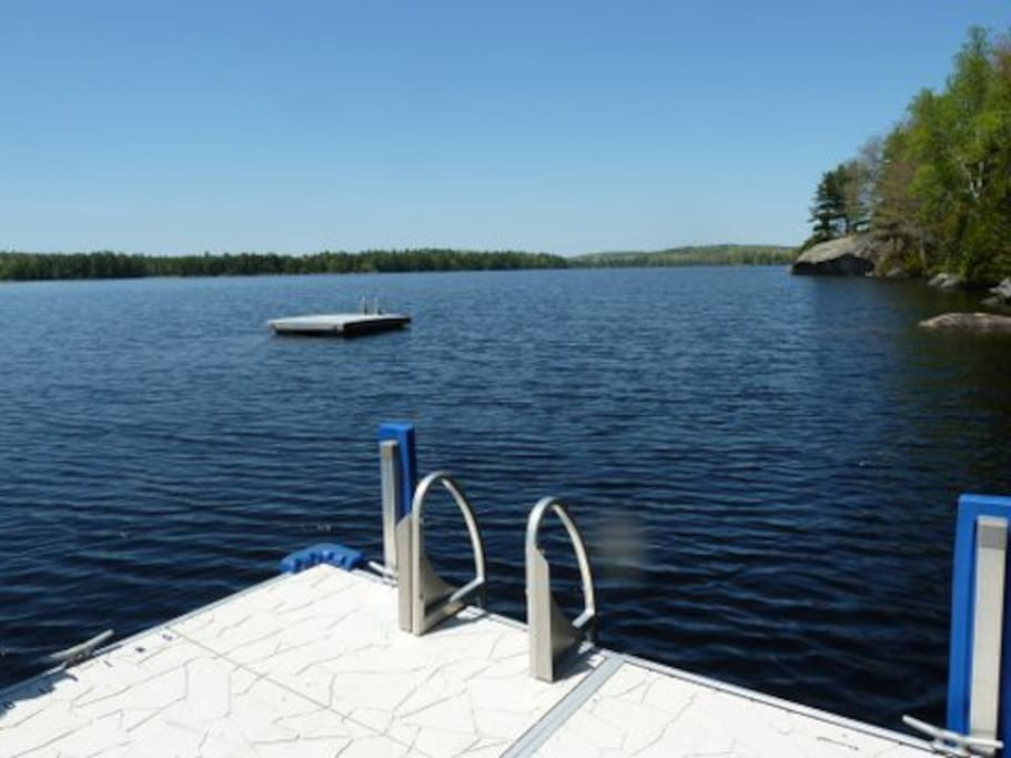 Great swimming. Dock for your boat or relaxing. No neighbors.