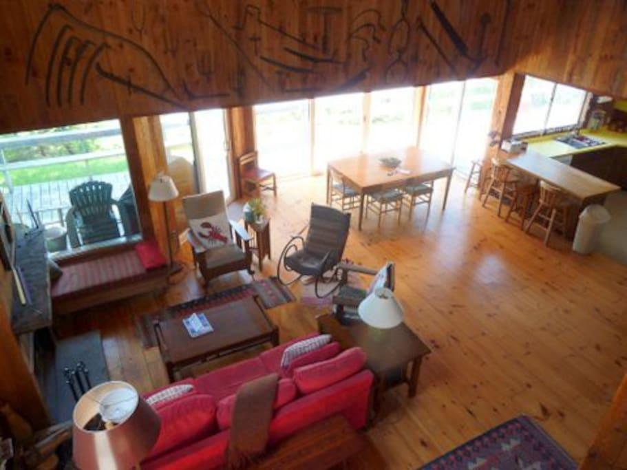 An open layout with windows to the lake. (View here is from the loft).