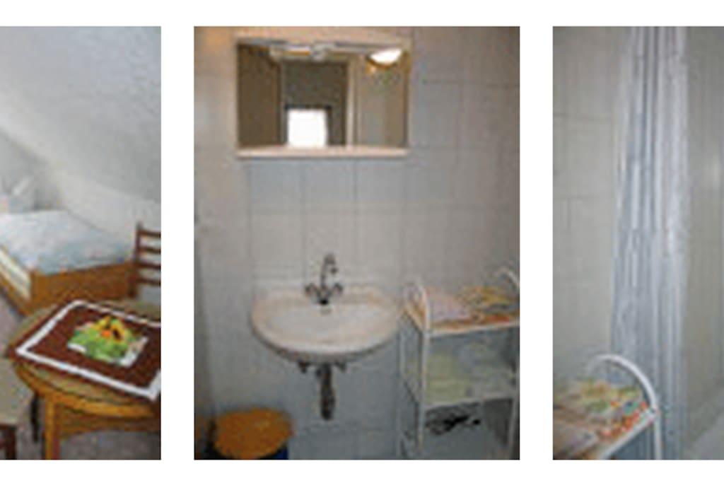 Second bedroom with 2 beds; washroom and shower