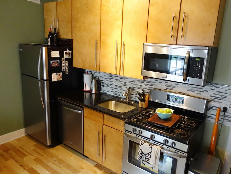 Stainless kitchen, dishwasher, gas stove, microwave