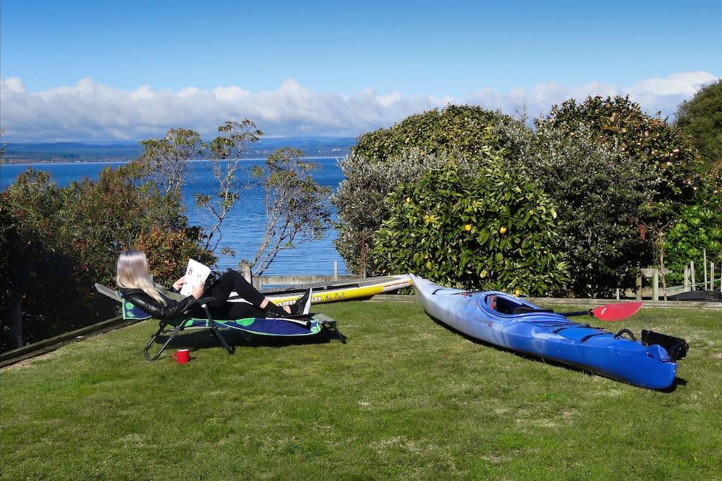 There is a private lawn right in front of the house. Relax here or stroll down to the waters edge. Kayak available for use as well as a SUP.
