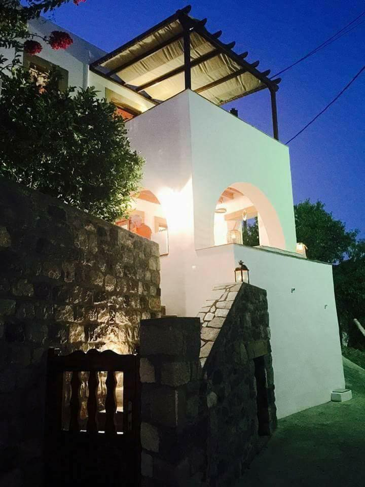 Villa front side by night