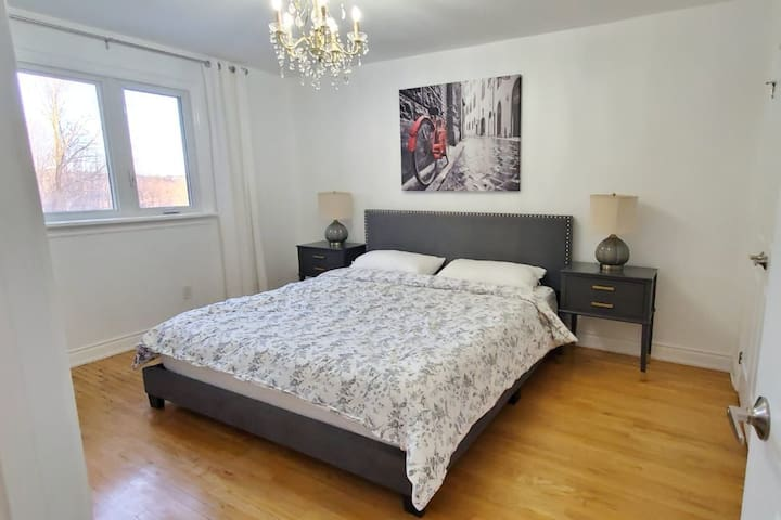 Gray Room with King Bed