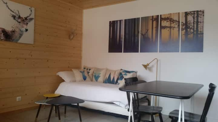 Grand studio neuf avec vue et terrasse