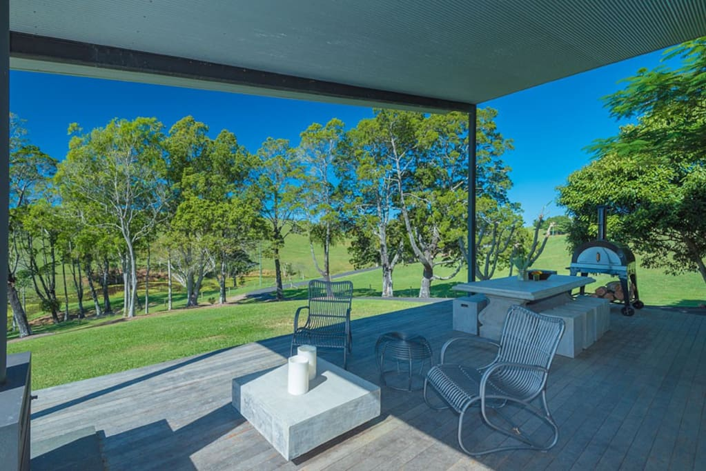 Sheltered outdoor deck