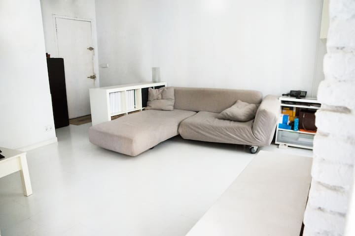 Living room. Spacious and bright, with sofa bed.