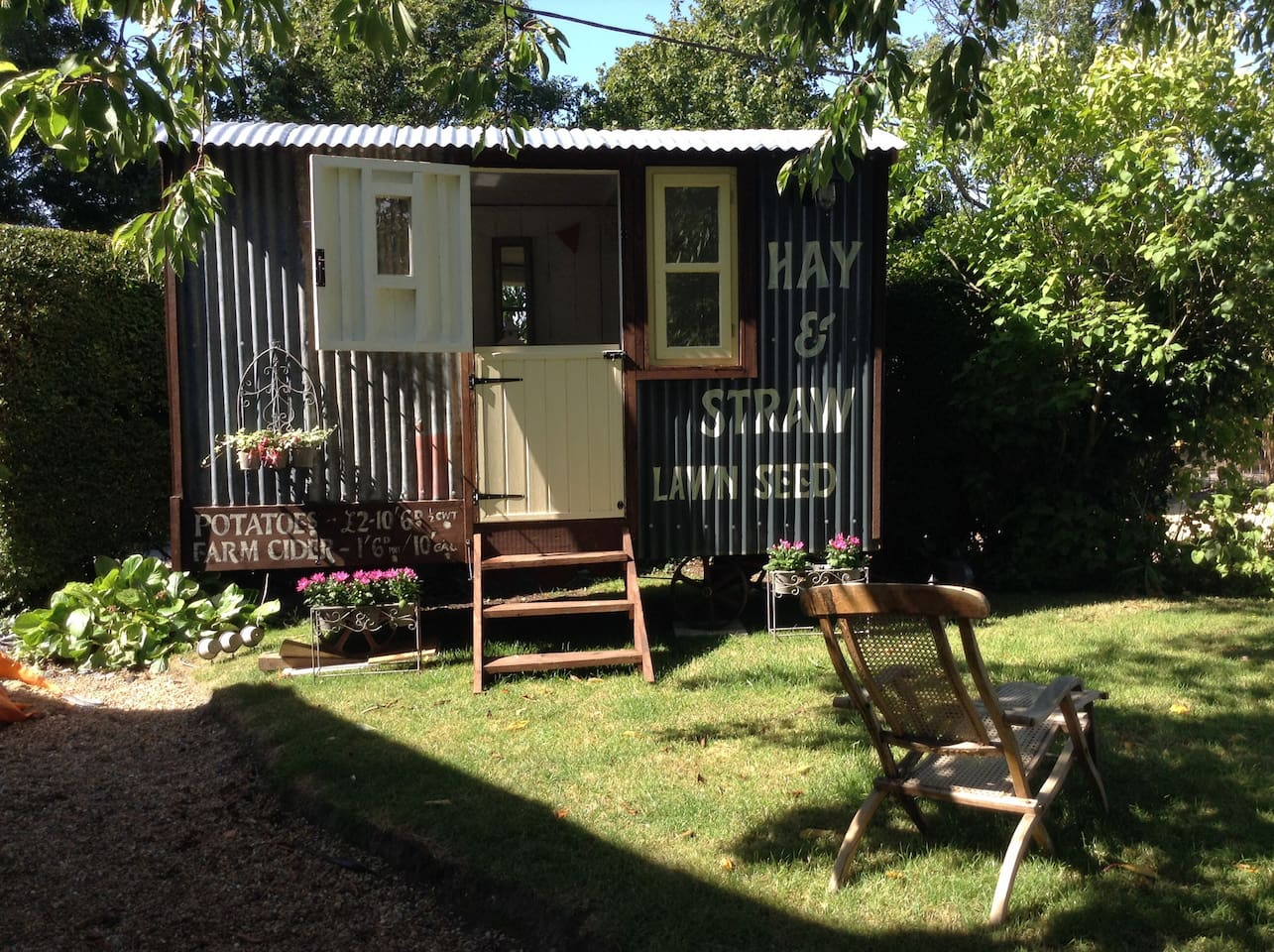View of Shepherds Hut with own private section of garden