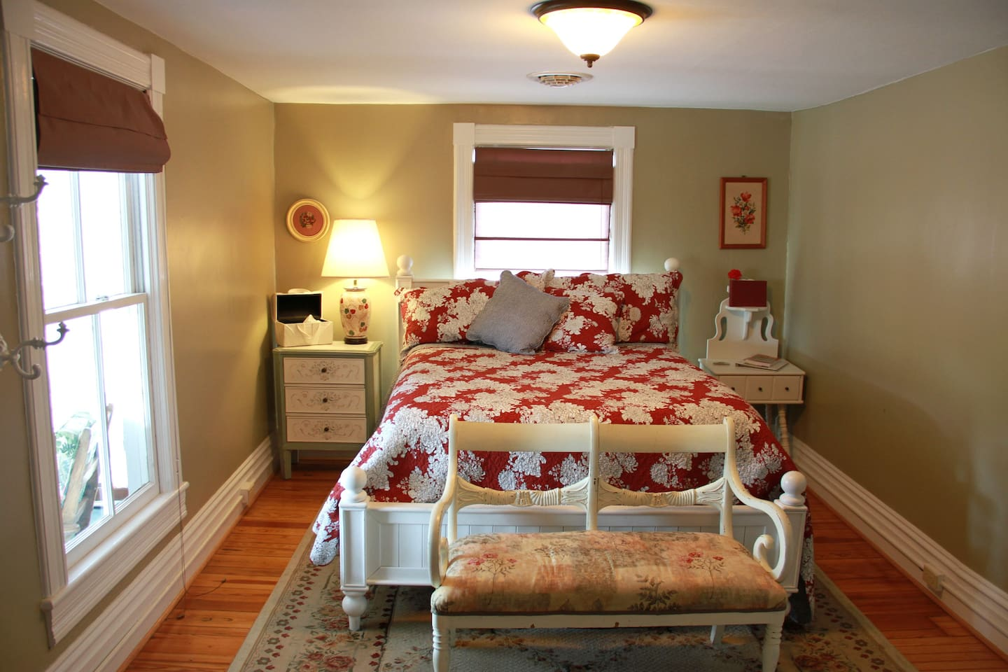 Room #5: Queen bed; Upstairs front; TV and Wifi; Shares two full bathrooms