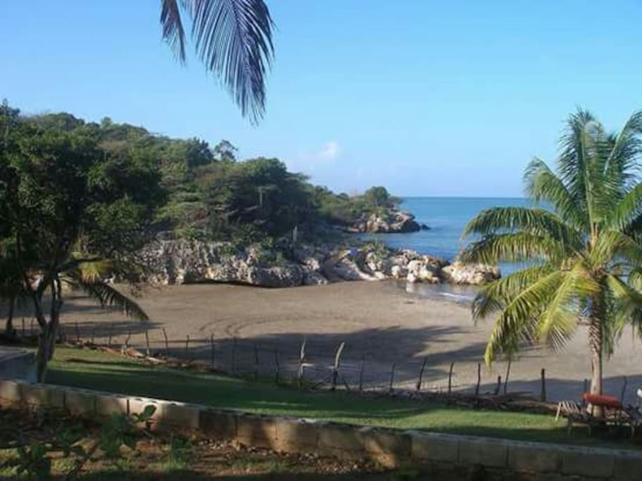 View of the beach in front the villa.