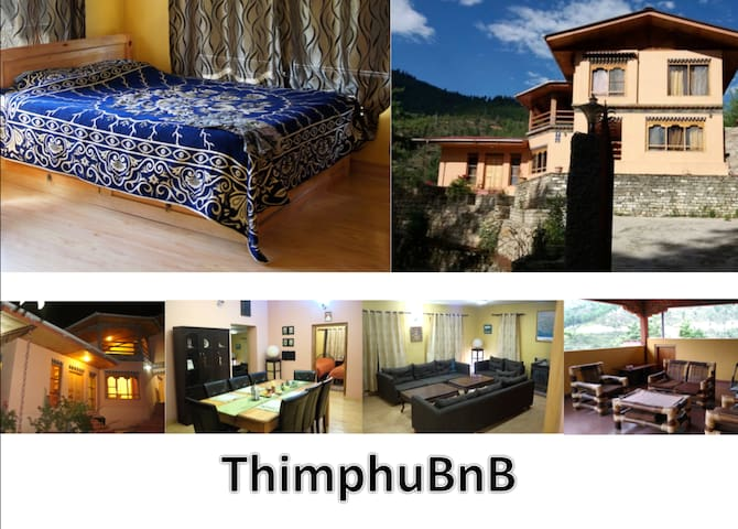 ThimphuBnB Blue Double Bed with attached bathroom