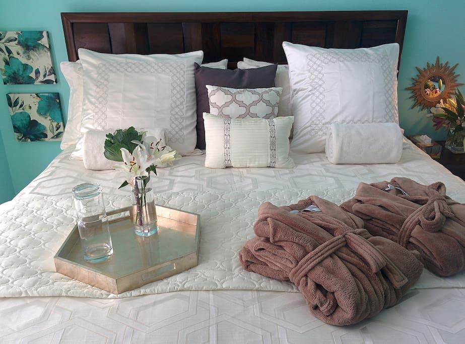 Bedroom #1 King bed memory foam gel mattress.