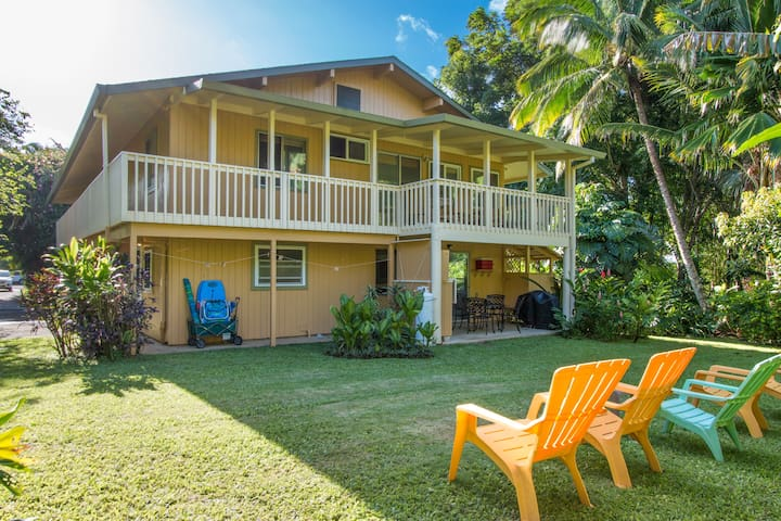 Lovely Home 1 Block to Beach at Hanalei Bay