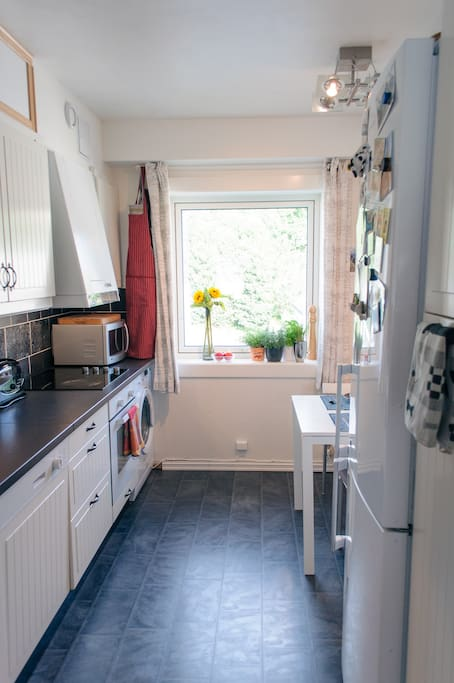 Full access to kitchen appliances (cook top, oven, microwave, stick blender, espresso maker, water heater, soda stream) and large combination fridge/freezer