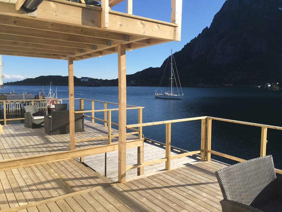 enjoy the big deck right by the sea