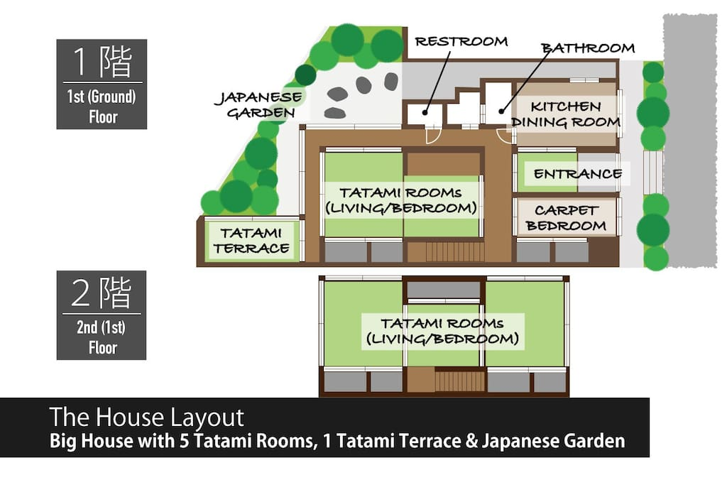 Many tatami rooms, 1 carpeted room, 1 terrace, 1 restroom and 1 bathroom