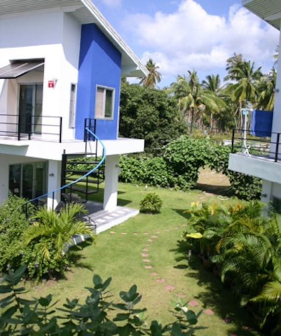 The beach villas are surrounded by tropical jungle