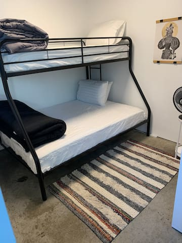 Second bedroom - twin over full bunk bed with pillow top mattresses and high thread count sheets.