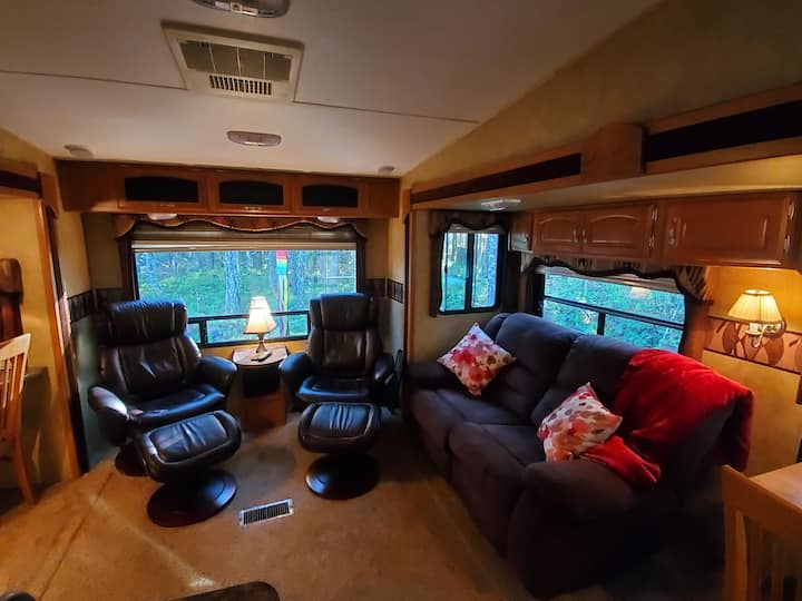 Luxury couples 5th wheel in outdoor mecca