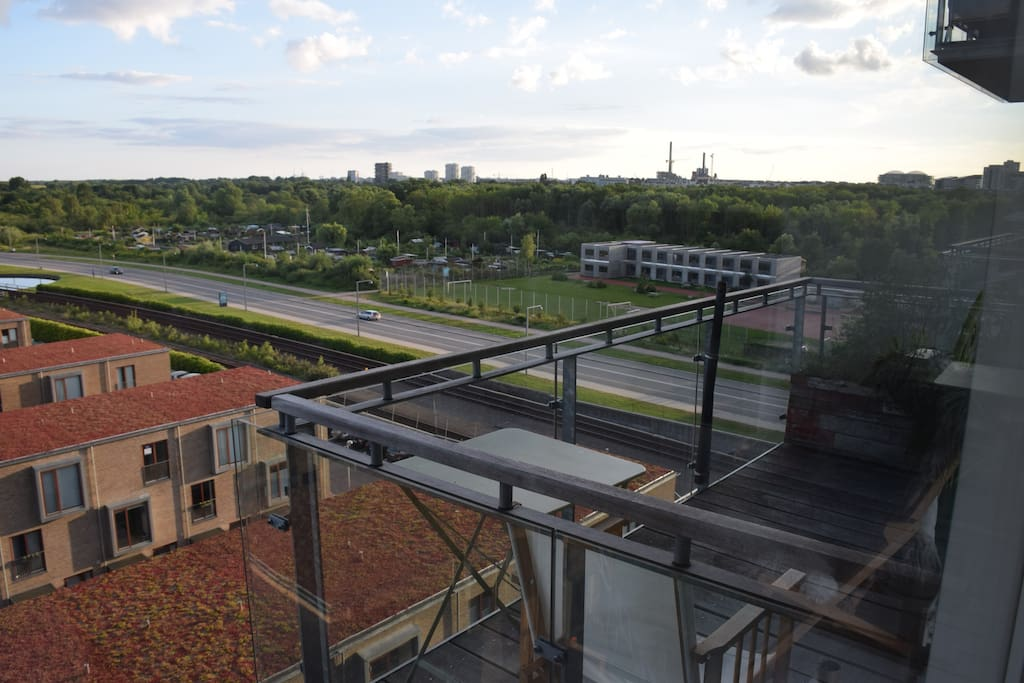 The amazing balcony with great views of Amager Fælled and Ørestad