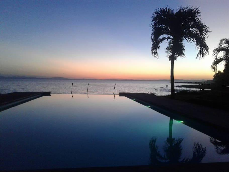 Refreshing swiming pool, nice sunset