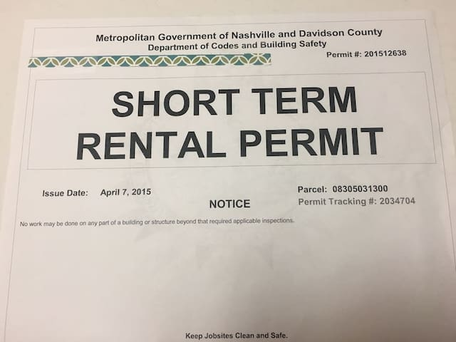 This is a legal short-term rental of Nashville, TN.